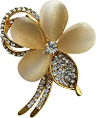 B-fashionable Metal Golden Petal Brooch for Men and Women