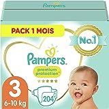 Pampers Couches Premium Protection Taille 3 (6-10kg) notre N°1 pour la protection des peaux sensibles, 204 Couches (Pack 1 Mo