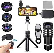 Sea-lion Phone Camera Lens kit, 12X Zoom Telephoto Lens+210° Fisheye Lens+25X Macro Lens+120°Wide Angle Lens+ Selfie Stick T