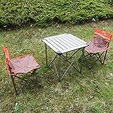 Campingmöbel 3-Set Campingtisch Klapptisch Campingstuhl Faltstuhl für Kinder/Jugendliche - braun