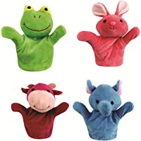VIBGYOR PRODUCTS 20cm Rabbit, Frog, Cow, Monkey Animal Hand Puppets for Boys & Girls , Multi Color (Pack of 4)
