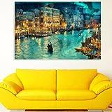Inephos Unframed Canvas Beautiful Night Venice Art Wall Painting (91 cm x 61 cm, Multicolour)