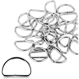 Alcoon 30 Pieces Metal D Ring 30mm Non Welded Nickel Plated Loop D-Rings for Bag, Buckle, Straps, Belt, Backpack DIY…