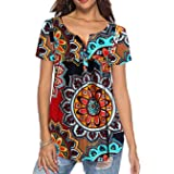 Tuopuda Magliette Donna T-Shirt Ruffle Design Camicette Scollo a V Pullover Maglie a Maniche Corte/Manica Lunga Bottone Tops