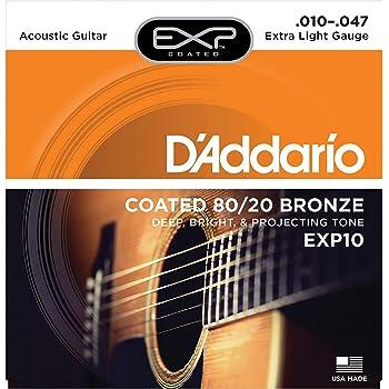 D'Addario EXP10 Satz mikrobeschichtete Bronzesaiten (80/20) für Akustikgitarre 010' - 047'