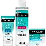 Neutrogena Skin Detox 3 Step Routine, Acqua Micellare a Tripla Azione, Esfoliante, Crema Idratante a Doppia Azione, Combatte