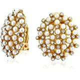 Crystal Round Dome Simulated White Caviar Pearls Button Clip On Earrings For Women Silver Plated Brass