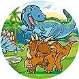 Dekora - Decoration Gateau Anniversaire Feuille Azyme Dinosaure - 20 cm Diametre