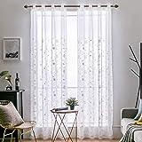 MIULEE Cortinas Visillo Moderno Bordadas Transparentes para Salon Dormitorio Cortinas Translucidas con Ojales para Ventana Co