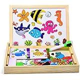 Dookey Magnetisches Holzpuzzle Doppelseitiger, Pädagogisches Holzspielzeug Lernspielzeug für Kinder ab 3 Jahre für den Einsatz zu Hause, in Schulen, Picknick, die Reise