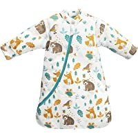 Baby Winter Sleeping Bag Kids Sleeping Bag 3.5 Tog Organic Cotton Sleeping Bag Various Sizes from Birth to 4 Years Old (S:Baby Height 60-75cm/3-7 Months, Animal World)
