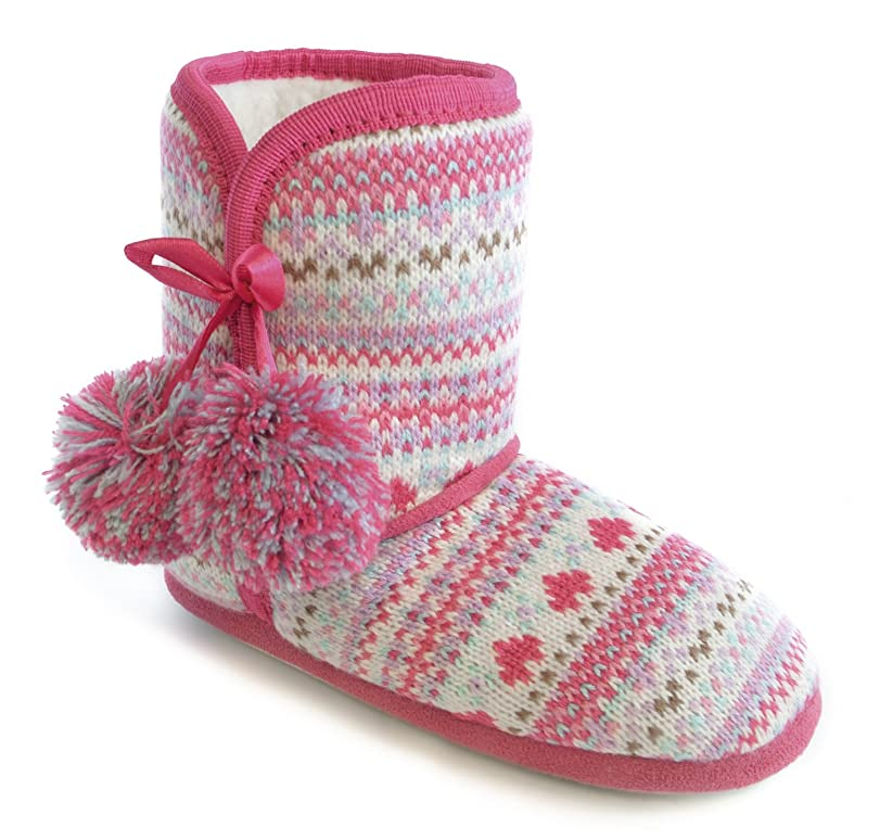 Girls Pink Nordic Pattern Jacquard Knit Fleece Lined Bootie ...