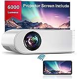"Proyector WiFi, YABER Mini Proyector Portátil 6000 Lúmenes 1080P Full HD[Pantalla de Proyector Incluida], Cine en Casa 200"" D"