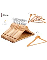 Solid Wood Garment Hangers - with Non Slip Bar and Precisely Cut Notches - 360 Degree Swivel Chrome Hook - Natural Finish Super Sturdy and Durable Wooden Hangers
