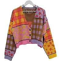 Zukmuk Bolero - Cardigan da donna, a maniche lunghe, con motivo floreale, a maglia, maglia, Colore: rosa.