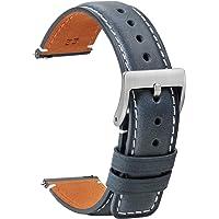 TStrap Montre Bracelets Cuir 20mm - Remplacement Bracelets de Montre Dégagement Rapide Noir Doux Sport pour Hommes Dames…