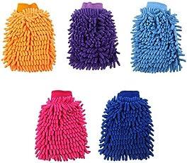 Everpert Autowaschhandschuh Doppelseitige Actinozoan Auto Reinigungshandschuh für Autoreinigung und Autopflege (zufällige Farbe)