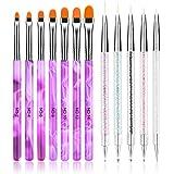 URAQT Nail Art Brush Set, 12 stks Nail Art Pen en Nail Dotting Tools, Double Ended Dotting Pennen Nail Art Liner Brushes, Pro
