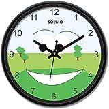 Amazon Brand - Solimo 12-inch Plastic & Glass Wall Clock - Pasture (Silent Movement), Black
