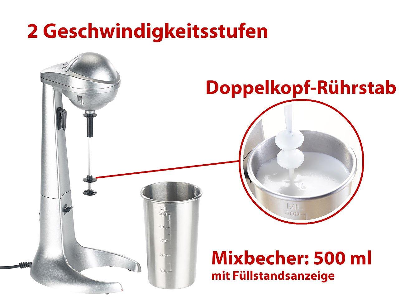 Rosenstein-Shne-Milchshaker-Elektrischer-Drink-Mixer-mit-Edelstahl-Becher-65-Watt-Getrnkemixer