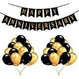 PARTY PROPZ™ Happy Anniversary Combo with Banner and 51 Pieces Balloon for Anniversary Decoration