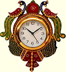 JV Ent. Wooden Hand Painted Peacock Design Wall Clock for Home & Decor