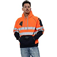 Hi Vis 3 Zips Hoodie High Visibility Reflective Tape Band Work Fleece Safety Hooded Top Phone & ID Pockets Pullover Hood…