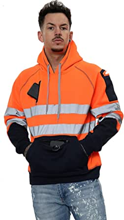 Hi Vis 3 Zips Hoodie High Visibility Reflective Tape Band Work Fleece Safety Hooded Top Phone & ID Pockets Pullover Hood SweatShirts Jacket Warm Security Plus Sizes Small - 5XL