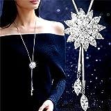 Ricisung, collana lunga regolabile con pendente di zirconia cubica da donna, 21