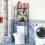 YIFAA Etagère de Salle de Bain MARSA Meuble de Rangement au-Dessus des Toilettes WC ou Lave-Linge avec 3 tablettes, en métal