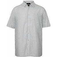 Mens Tattersall Shirt Short Sleeve Check Pattern Polycotton