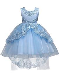 IWEMEK Vestido de niña de Flores para la Boda Princesa Vestidos de Dama De Honor Sin