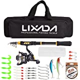 Lixada Fishing Rod Reel Telescopic Fishing Rod Fishing Line Lures Hooks Jigs Travel Fishing accessories Kit