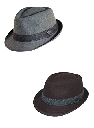 93c792a9c08 Dorfman Pacific Men's Wool Blend Fedora Hat with Herringbone Band (Pack of  2): Amazon.co.uk: Clothing