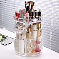 Kurtzy 360 Degree Makeup Tools Holder Plastic Rotating Cosmetic Storage Vanity Stand for Organizing Creams Brushes Lipsticks Jewellery (Transparent (Acrylic))