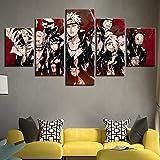 QJXX Lot de 5 tableaux avec personnages Naruto pour décoration murale (sans cadre), 30x40x2+30x60x2+30x80x1