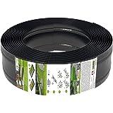 AMISPOL Elastische Rasenkante Kunststoff schwarz 12 m (125/4 mm) - Beeteinfassung Rund - Beetumrandung für Kurven - Blumenbee
