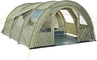 CAMPFEUER Tunnelzelt mit 2 Schlafkabinen, olivgrün, 5000 mm Wassersäule, mit Bodenplane und versetzbarer Vorderwand