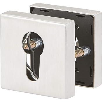 Schutzrosetten-Paar quadratisch für Haus und Wohnungstüren mit Zyl Edelstahl PZ