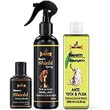 Dogz & Dudez Dogs and Cats Shampoo Anti Tick & Flea with Tick Spray | Organic Natural Neem & Lemongrass ● Anti Itching, Insec