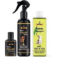 Dogz & Dudez Dogs and Cats Shampoo Anti Tick & Flea with Tick Spray | Organic Natural Neem & Lemongrass ● Anti Itching…