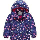 Chaqueta de entretiempo para niña, impermeable, chaqueta de lluvia con forro polar, diseño de dibujos animados, cálido, resis