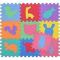 BAKAJI Tappeto Puzzle Colorato in Morbida Gomma Eva Resistente, Isolante, Lavabile, Tappetino da Gioco per Bambini (9 pz…