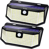 Aootek 182 Led Solar outdoor motion sensor lights upgraded Solar Panel to 15.3 in2 and 3 modes(Security/ Permanent On all nig