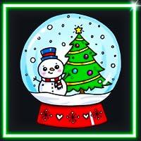 Coloring Book Draw Neon Glow Kawaii Christmas