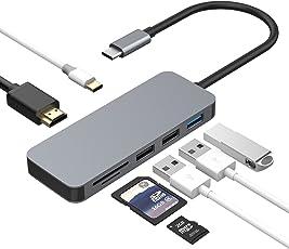 USB C Hub 7 in 1 Aluminium Adapter mit USB-C Port (Pass-Through Aufladen), (Datenübertragung), 4K HDMI Anschluss, SD/Micro SD Kartenleser und USB 3.0 Port für MacBook Pro 2016/2017, neues MacBook, Chromebook,Sumsung S8, Huawei Mate 10 und mehr Type-C Geräte