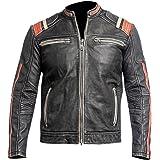 Cafe Racer Retro Diamond Classic Distressed Black Biker Leather Jacket