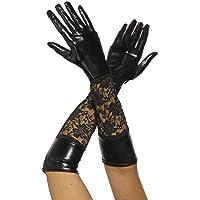 A lungo in pelle-look guanti con pizzo in nero