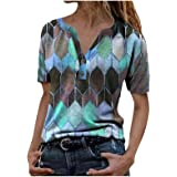 Women Short Sleeve V Neck Shirts Summer Blouse Tops Loose Casual Colorblock Button Up Tunic