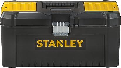 """Stanley Werkzeugbox / Werkzeugkasten (16"""", 20x19,5x41cm, Werkzeugkoffer mit Metallschließen, stabiler Organizer aus Kunststoff für diverse Werkzeuge, Koffer mit entnehmbarer Trage) STST1-75518"""